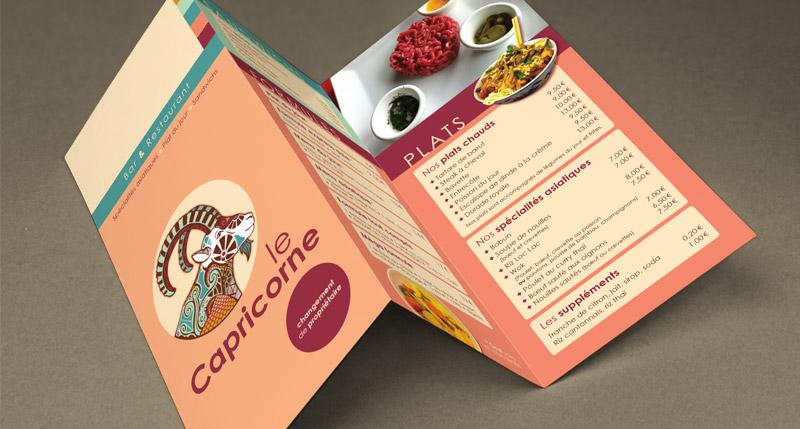 Mise en page de menus, maquettes de cartes de restaurant en Saône-et-Loire (71)